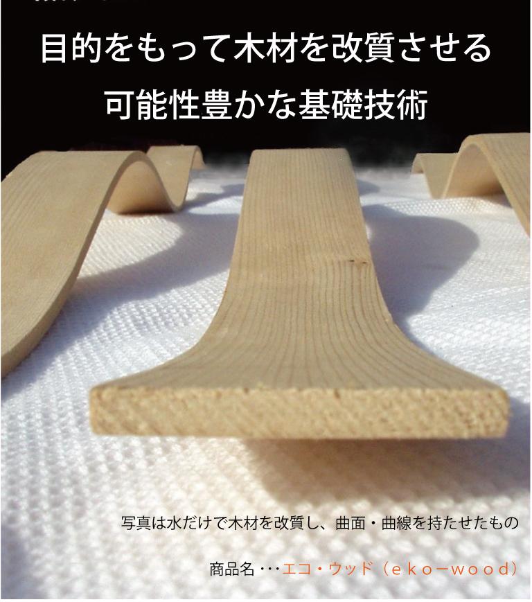 プログレスの技術は目的をもって木材を改質させる 可能性豊かな基礎技術。写真は水だけで木材を改質し、曲面・曲線を持たせたもの。商品名 ・・・エコ・ウッド(eko-wood)